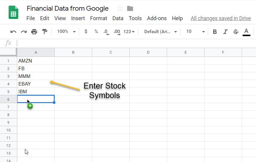 Step 1 - Enter Stock Symbols