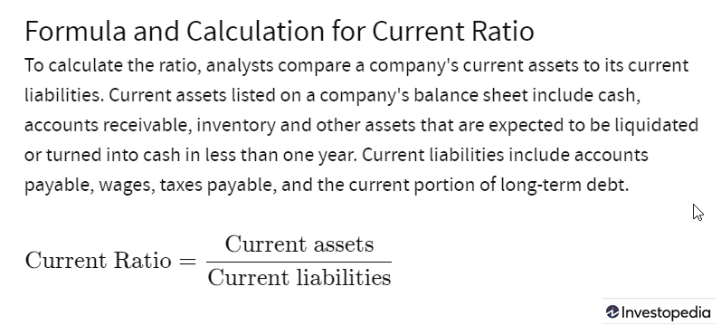 Current Ratio as Defined by Investopedia.com