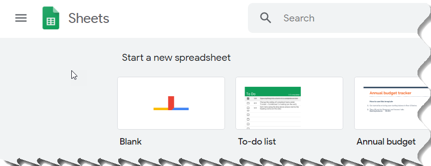 Main Screen for Google Sheets