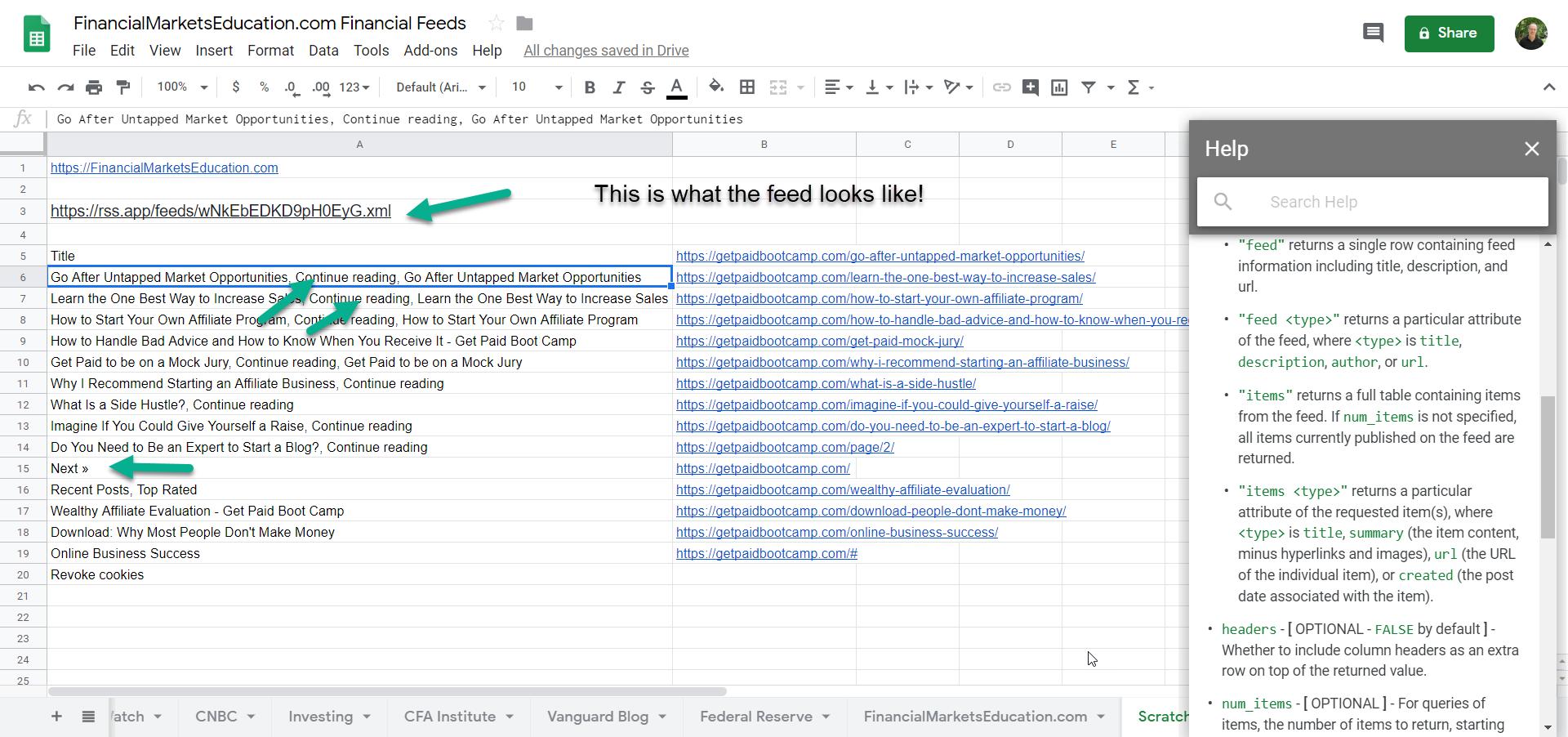 Google Sheets Feed of GetPaidBootCamp.com