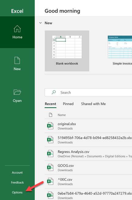 Excel Startup