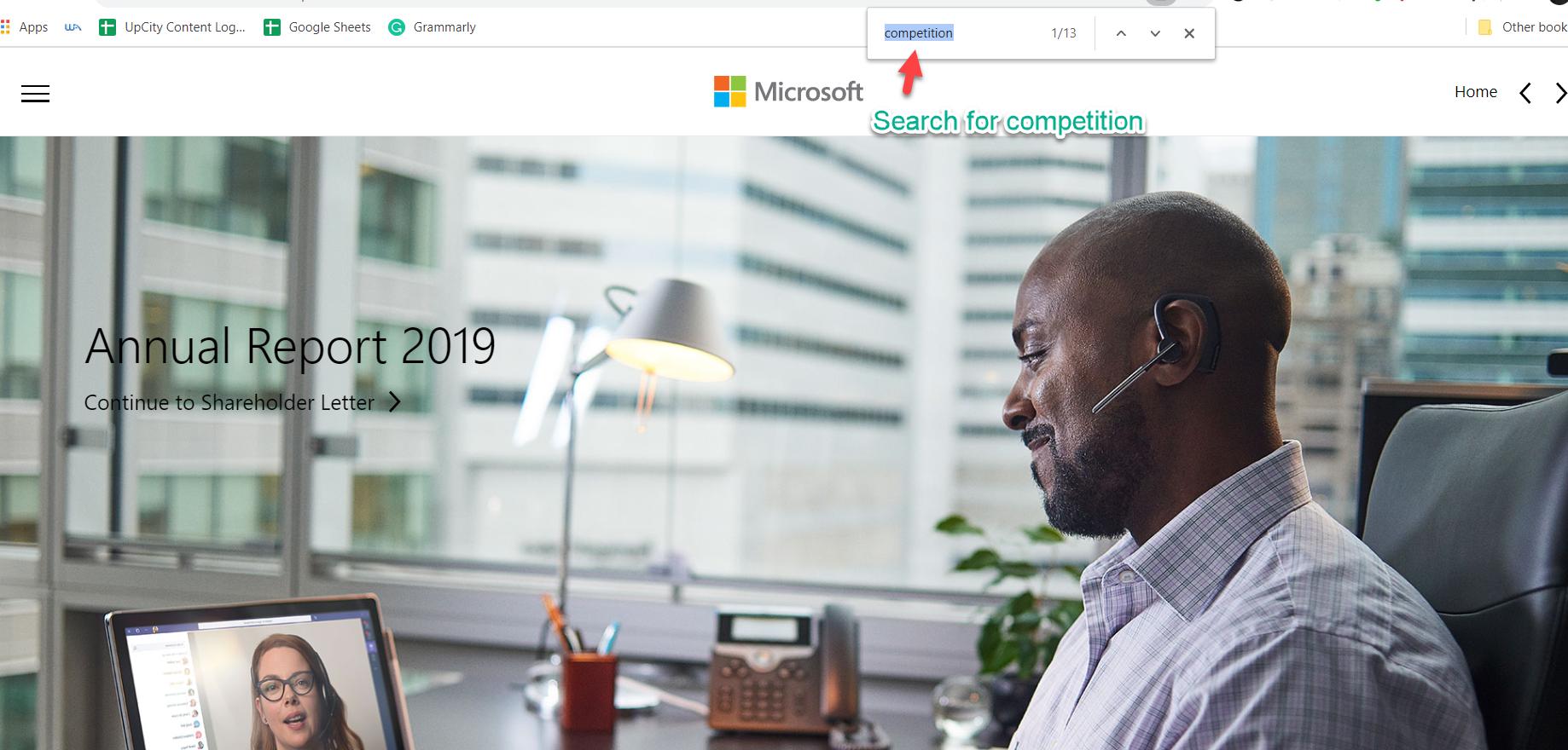 Microsoft Annual Report Top Search Bar