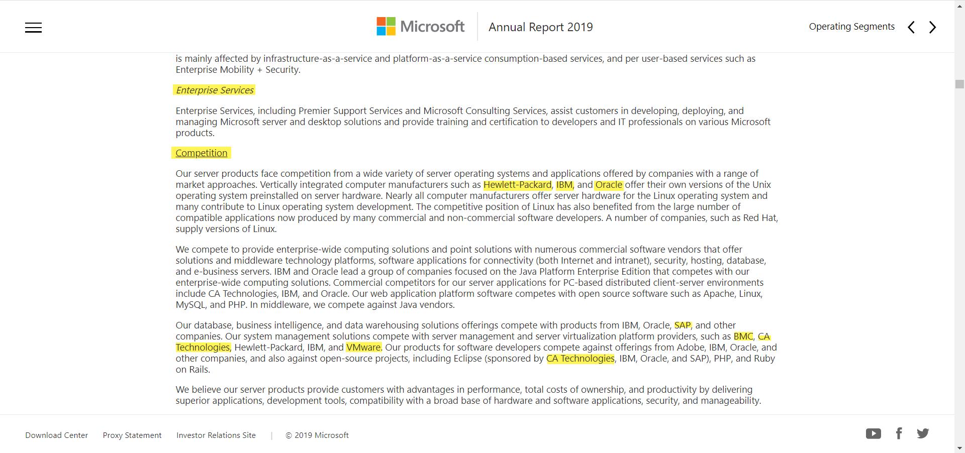Microsoft Enterprise Competitors