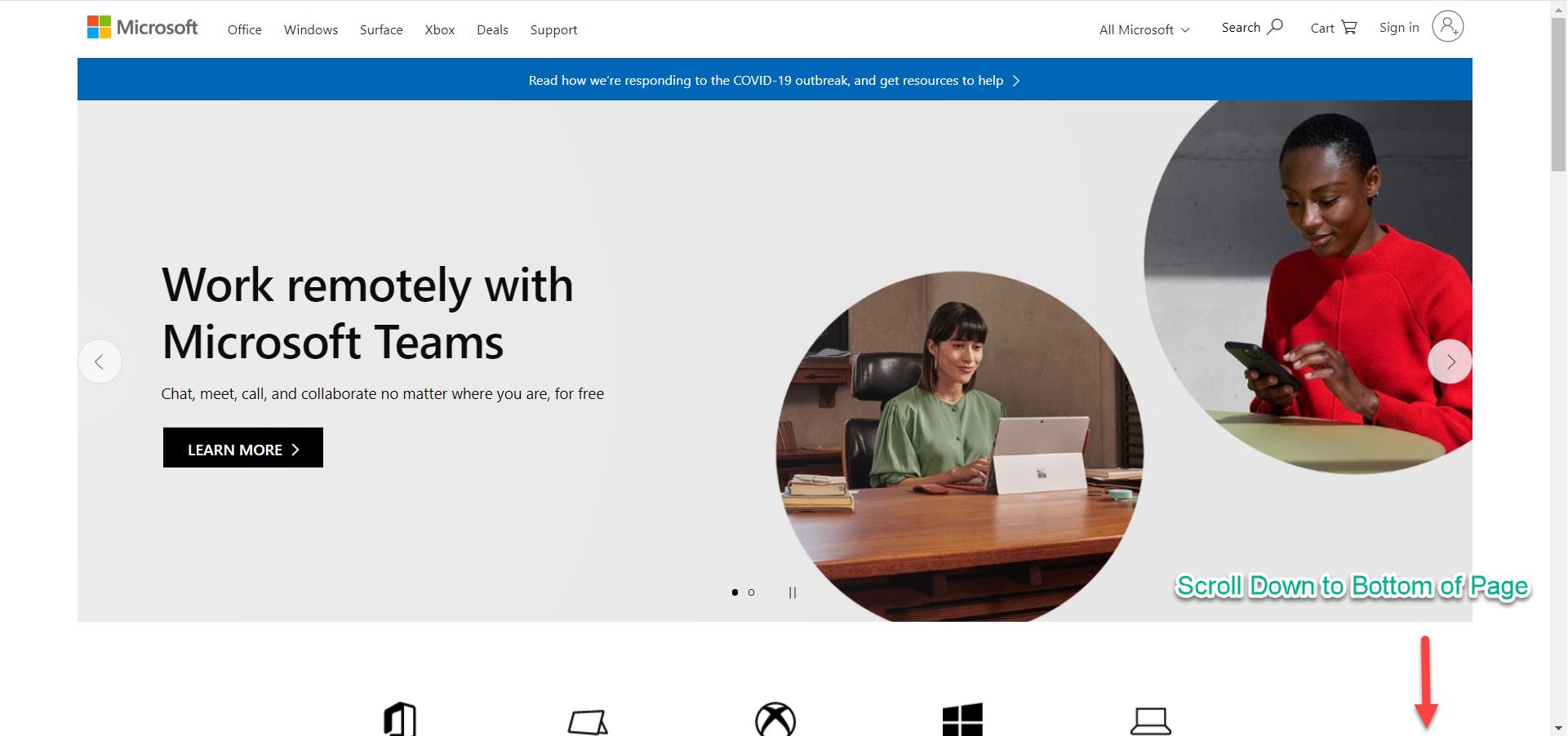 Microsoft's Main Page