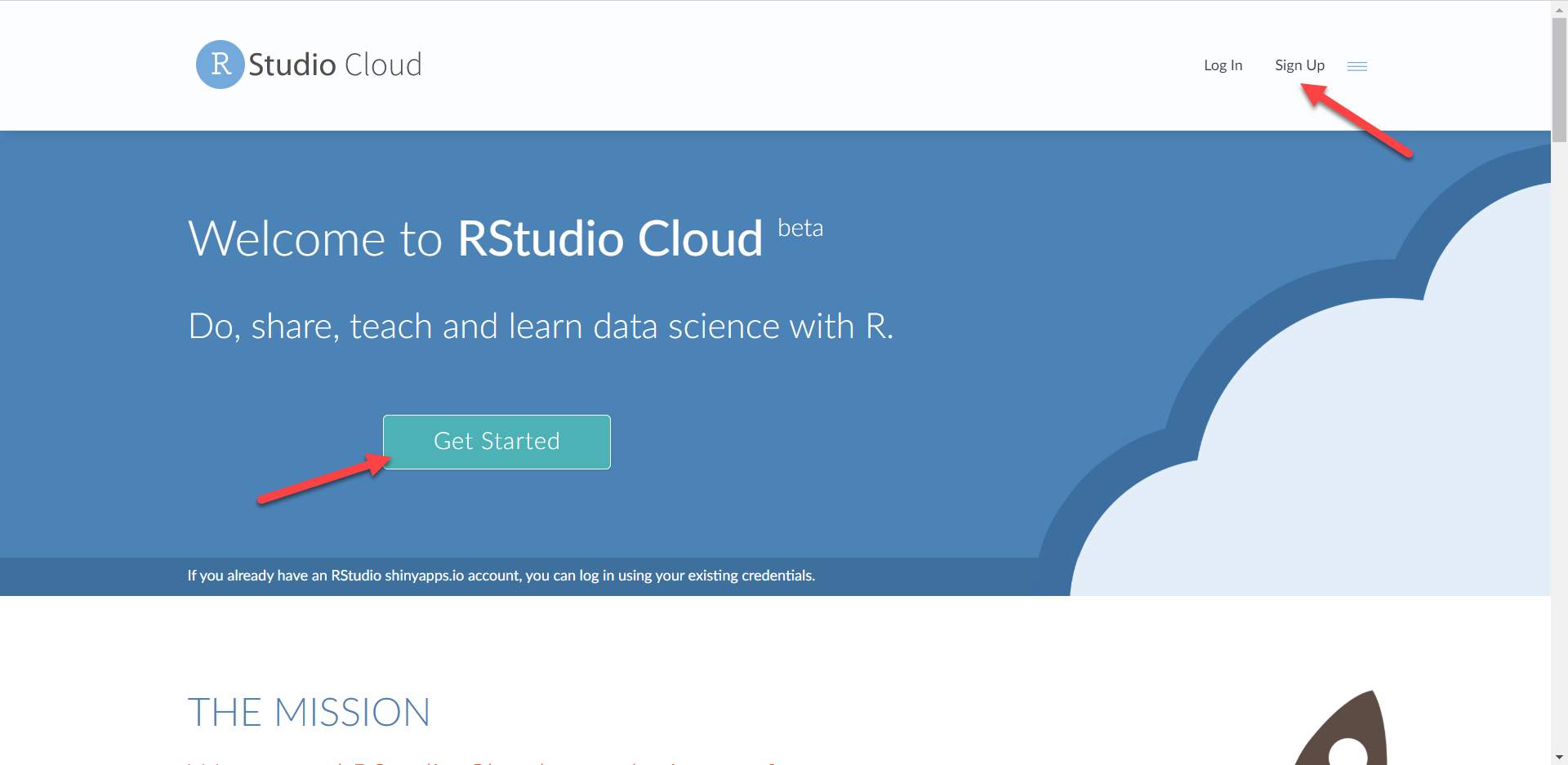 RStudio Cloud Main Page