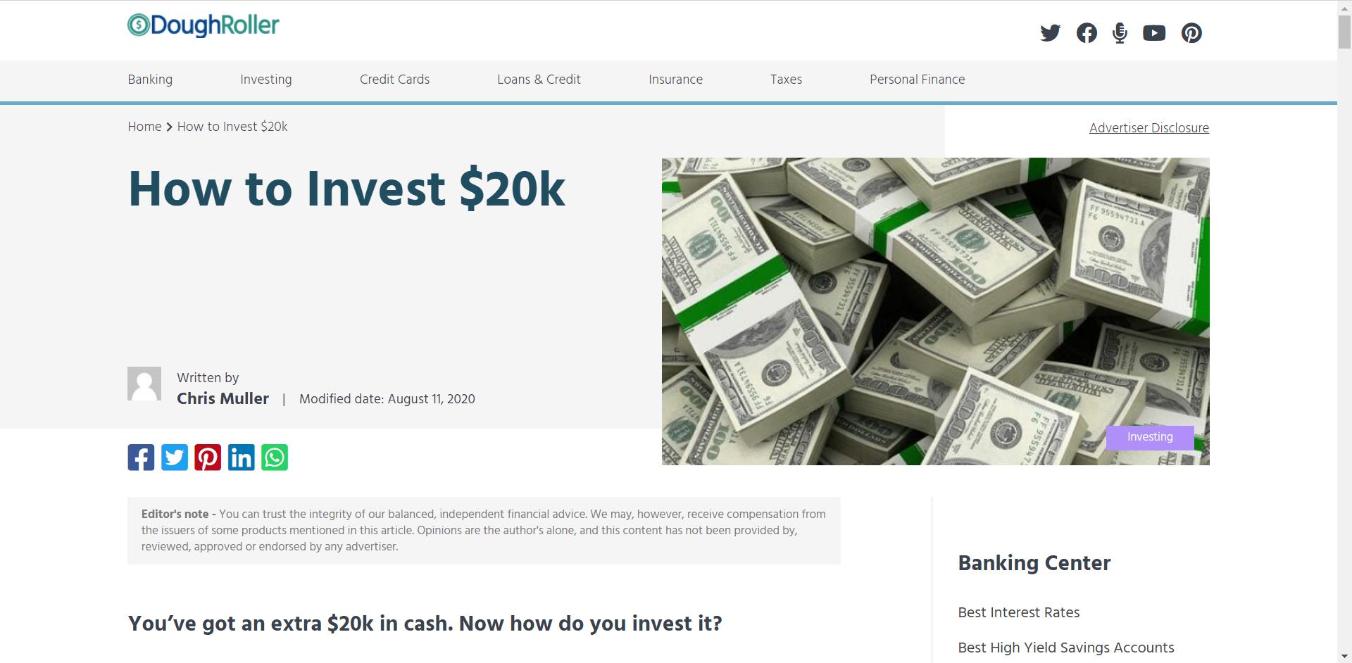 DoughRoller-How to Invest 20K