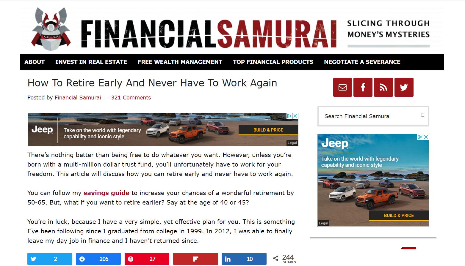 Financial Samurai How to Retire Early