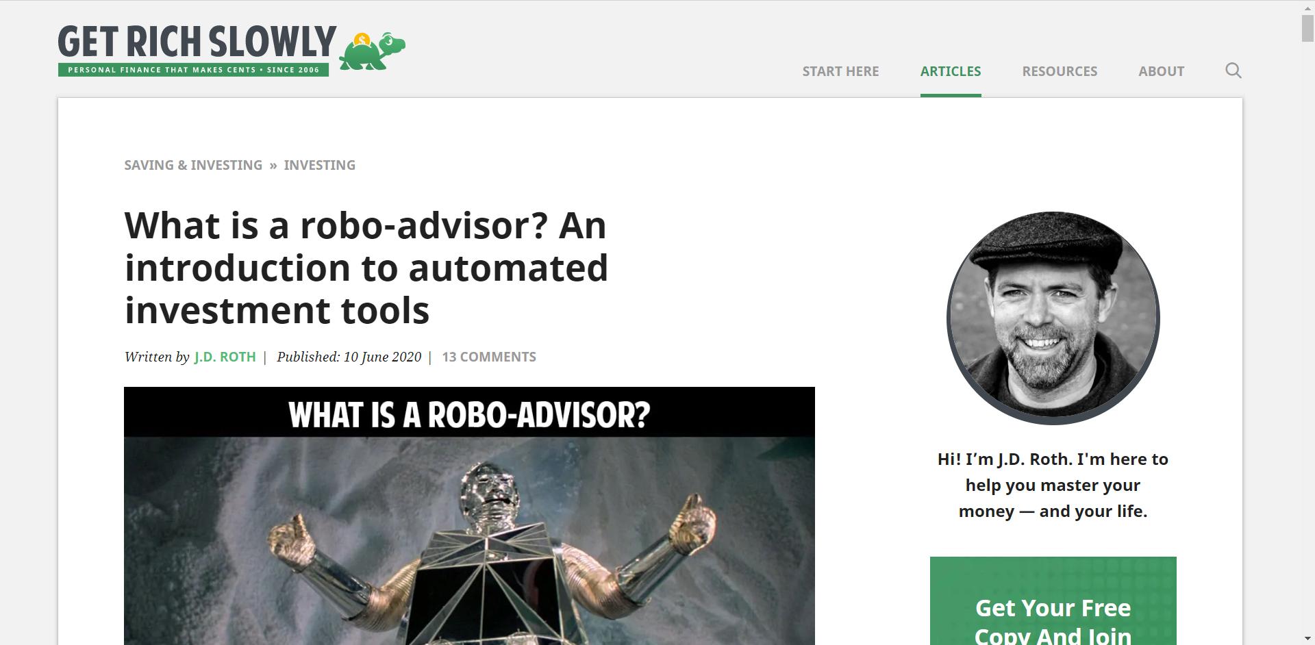Get Rich Slowly Robo Advisors