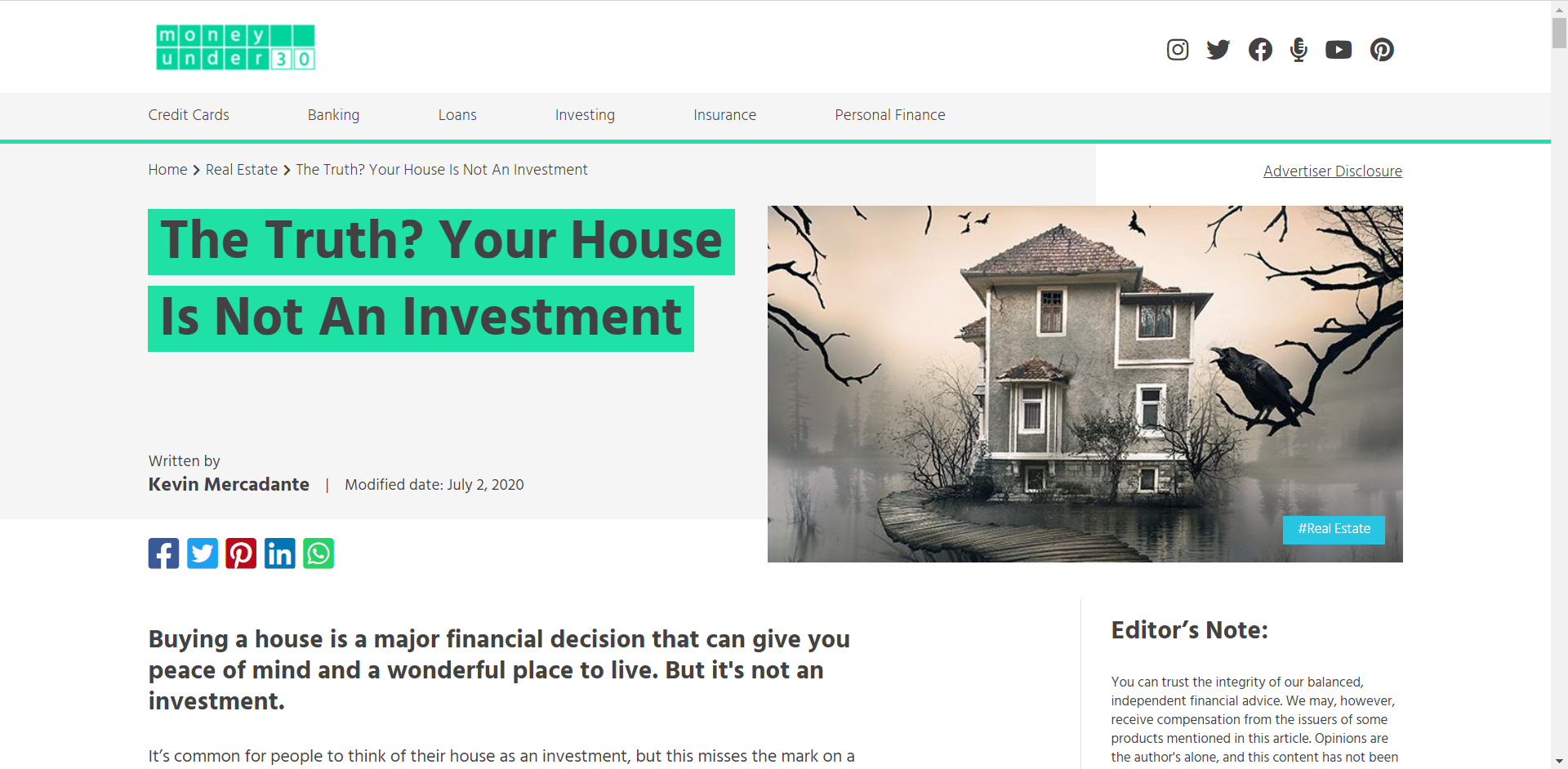 Money Under 30 House Not Investment