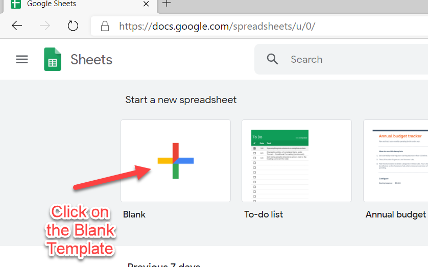 Blank Template in Google Sheets